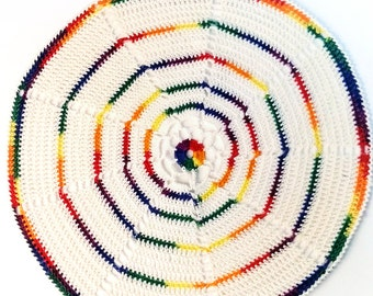 Beautiful crocheted table centerpiece with rainbow colors