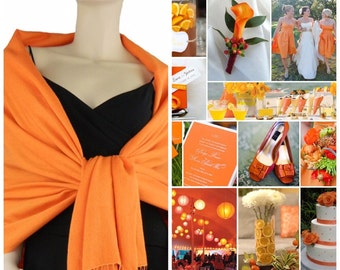 Orange pashmina scarf shawl / personalized initial shawl / bridesmaid shawl / wedding favor / spring summer wedding /