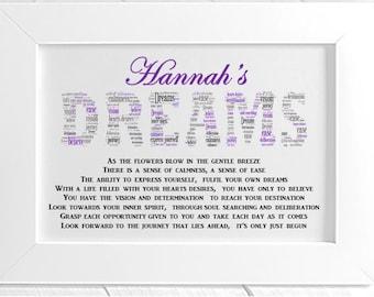 Personalised Inspirational Motivation Word Art Poem - Dreams