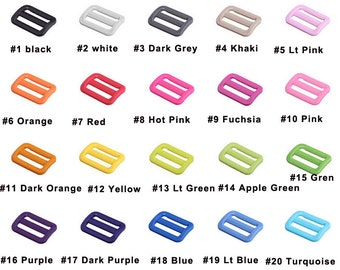"25mm 1"" Tri-Glide Slider Adjustable plastic Buckle 3 bar slider webbing strap 20color pick"