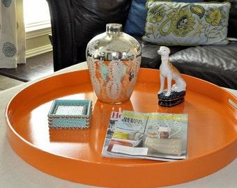 """20"""" or 22"""" Round Ottoman Tray - Hermes Orange"""