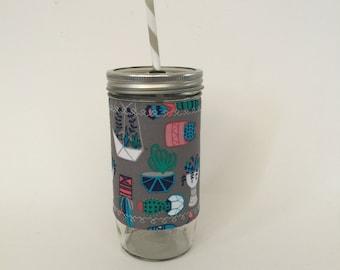 Mason Jar Tumbler 24oz -Insulated Cozy- Succulents - BPA free straw - personalized