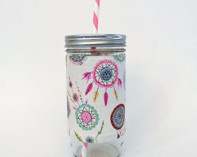 Mason Jar Tumbler 24oz -Insulated Cozy- Dream Catcher - BPA free straw - personalized