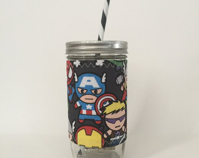 Mason Jar Tumbler 24oz -Insulated Cozy- Marvel Superhero - BPA free straw - personalized