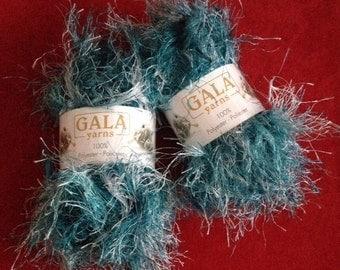 Two Skeins Turquoise Gala Yarn Eyelash