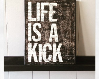 "Canvas Wall Art Soccer ""Life Is A Kick "" 11  X 14 Canvas"