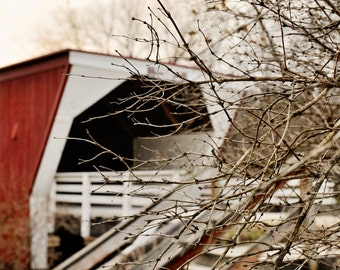 The Bridges of Madison County Part 1 - Iowa Iconic Love Story Bridge Old Historic Architecture Red Wooden Fine Art Print