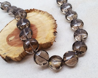 Smokey Quartz Coin Shape Faceted Beads