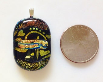 Beautiful Dichroic Fused Art Glass Ready to Wear Pendant