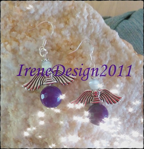 Handmade Silver Guardian Angel Earrings with Facetted Amethyst & White Opal by IreneDesign2011