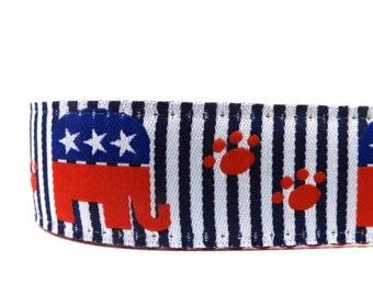 CHRISTMAS in JULY SALE Republican Dog Collar / red, white and blue dog collar/ Patriotic ribbon dog collar/ adjustable dog collar / martinga