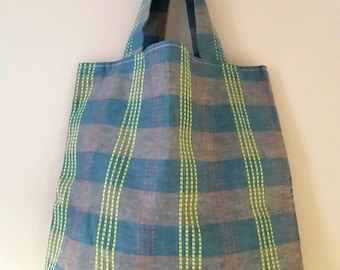 Bag with grey gingham print # 2