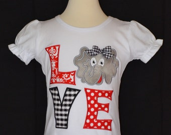 Personalized LOVE Elephant Football Applique Shirt or Onesie