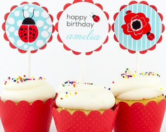 Ladybug Party CUPCAKE TOPPERS: Personalized