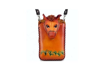 Cell Phone Case /  Genuine Leather Cell Phone Case /  Large Cell Phone Purse /  Note 3 / Horse / Equestrian / Brown