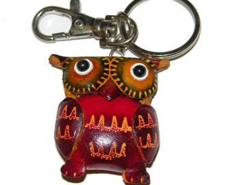 Handmade Leather Owl Key Chain
