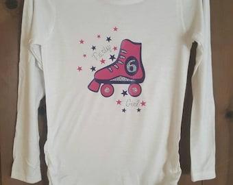 Roller skate birthday shirt.  Girls birthday shirt. Girls birthday party. Party girl birthday roller skate shirt. Girls birthday party ideas