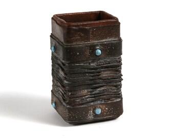 Vintage leather handmade pencil cup, Vintage workshop organizer, Office decor, Vintage handmade leather dice cup,