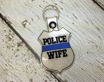 POLICE WIFE - Law Enforement Officer Wife - POLICE - Cop - In The Hoop - Snap/Rivet Key Fob - Digital Embroidery Design