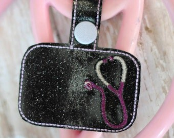 BLANK Stethoscope Tab - Doctor - Nurse - Key Fob In The Hoop - DIGITAL Embroidery DESIGN