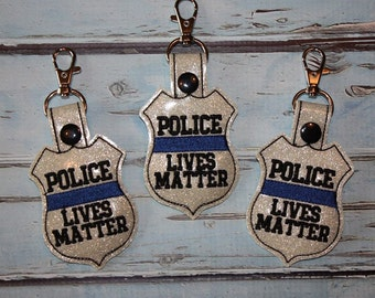 Police Lives Matter - POLICE - Cop - Law Enforcement - In The Hoop - Snap/Rivet Key Fob - DIGITAL Embroidery Design