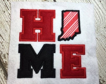 Indiana HOME Applique  - 4 Sizes Included - Embroidery Design -   DIGITAL Embroidery DESIGN