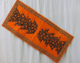 "Halloween Table Runner Pumpkins and Candy Corn Reversible Quilted 100% Cotton 40"" x 18"" NEW"