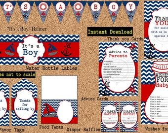 INSTANT DOWNLOAD - Nautical Baby Shower Party Package by (Atom Design)