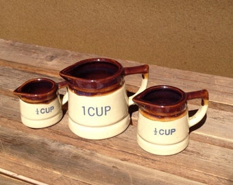 Set of Earthware Measuring Cups, Vintage clay pottery measuring cups
