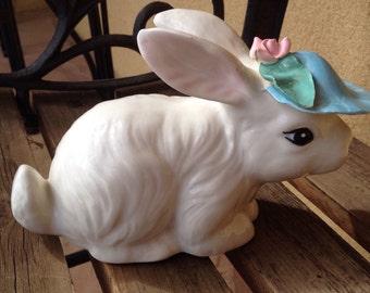 Bunny Rabbit Figurine, Betlar Ca Blue Hat Bunny, Easter Bunny Rabbit Figurine, Rare Vintage Porcelain Bunny Rabbit, Hand-painted Bunny