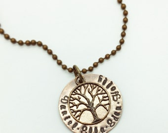 Family Tree Hand Stamped Name Necklace In Antiqued Copper Finish and Tree Charm