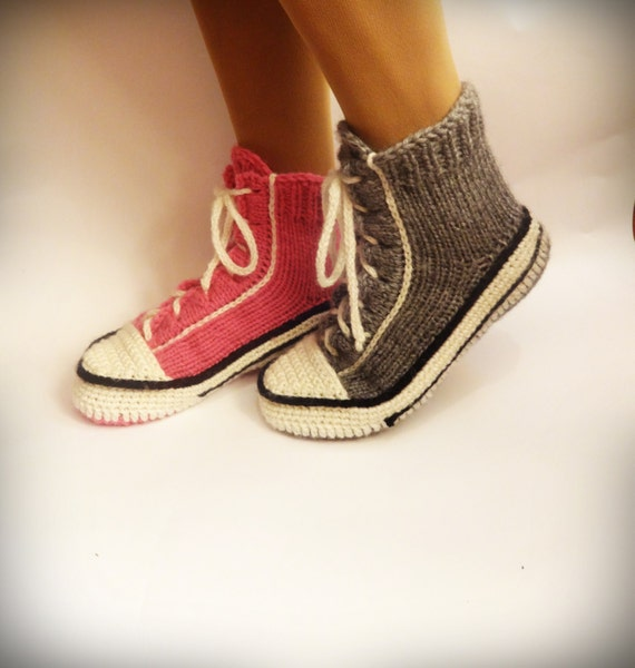 Crochet Pattern For Converse Slippers : Gray Converse Slippers Crochet Converse Knitted Converse