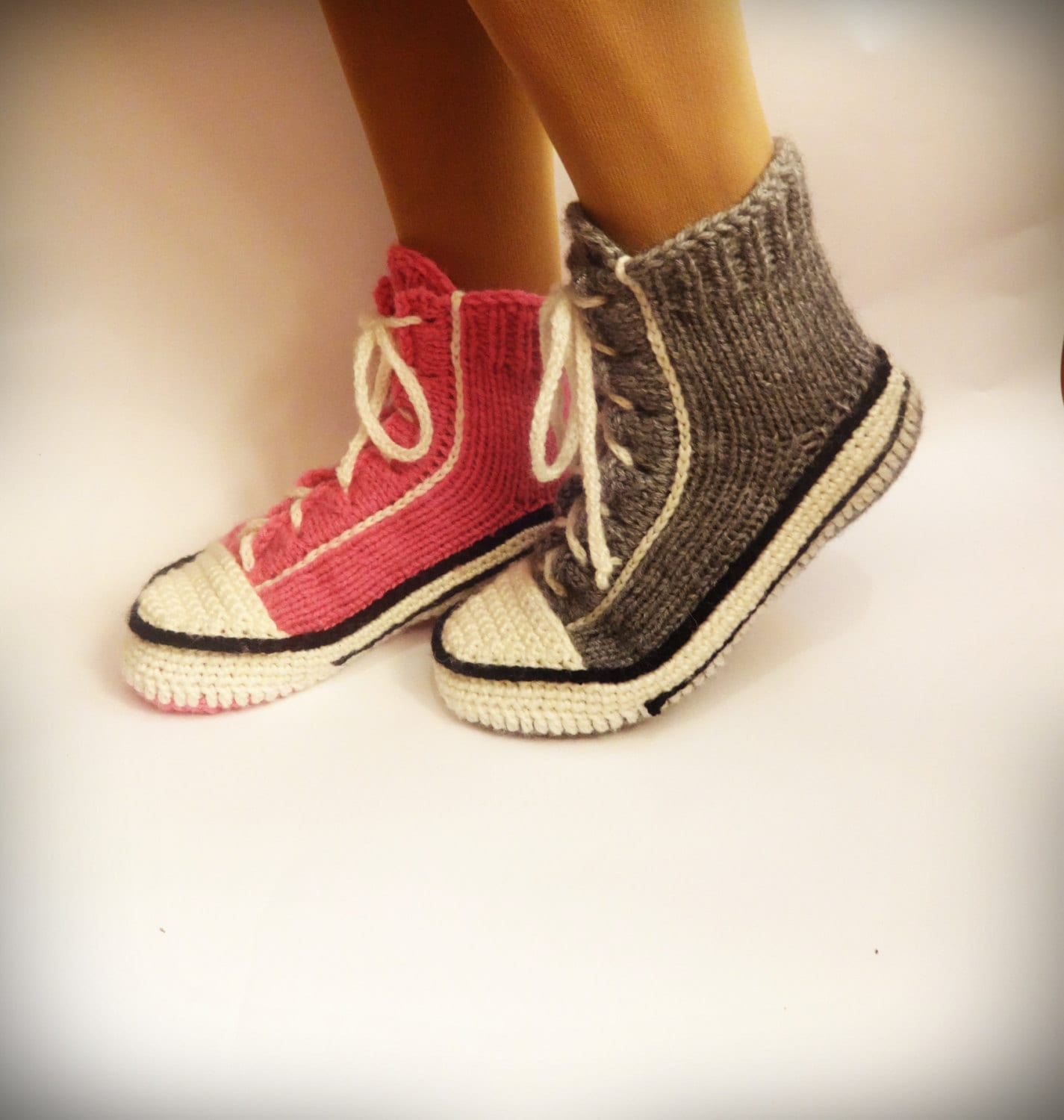 Gray Converse Slippers Crochet Converse Knitted Converse