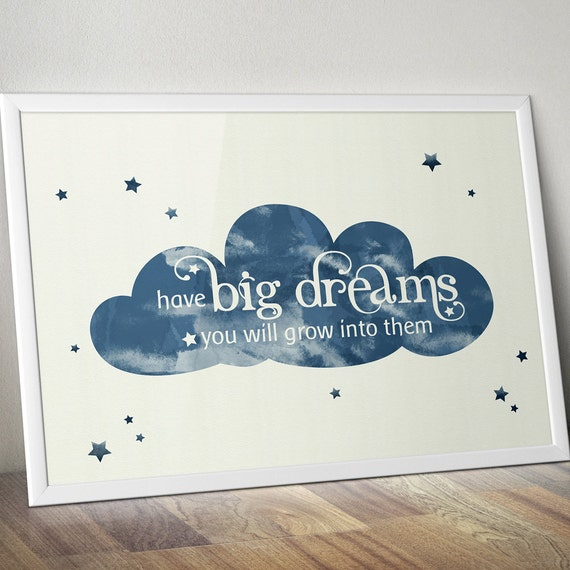 Nursery Ideas And Décor To Inspire You: Modern Nursery Decor Big Dreams Printable Quote Art Cloud