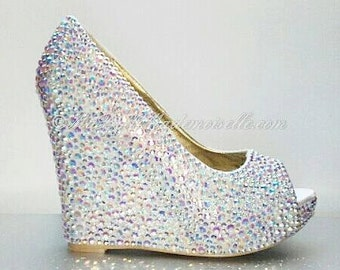 White Crystal Wedding Shoes Rhinestone Wedge Bridal