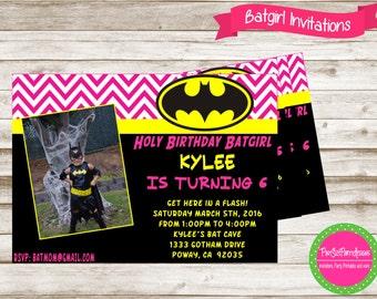 Batgirl Invitation, Batgirl Party, Batgirl Birthday, Superhero Invitation, Superhero Birthday Invitation, Superhero Party