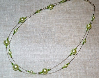 Lime Green Glass Pearl Illusion Necklace