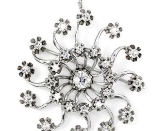 Vintage Circle Sun Diamond Pendant Brooch Pin in 14kt White Gold 1.15ctw