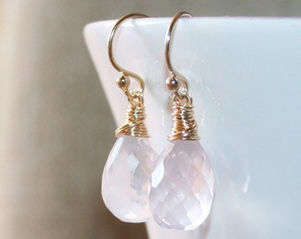 Rose Quartz Drop Earrings,14K Gold filled Wire Wrapped, Pink Quartz Drop Earrings, Faceted Rose Quartz, Mother's Day Gift, Pale pink Quartz