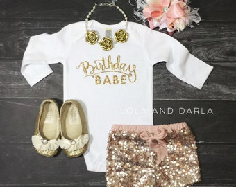 Birthday Babe long sleeve birthday bodysuit with gold sparkle
