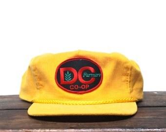Vintage Goldenrod Yellow Corduroy DC Farmers Coop Trucker Hat Strapback Zip Back Baseball Cap Patch