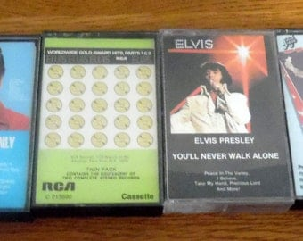 Elvis Presley Cassette Tapes.  Your choice from: You'll Never Walk Alone, For LP Fans Only, World Wide Gold Award Hits  or Elvis Country.