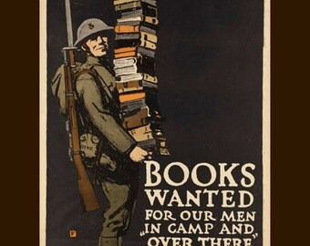 "WWII-Books wanted for our men over there-1941 11 x 14""~premium Luster photo paper"