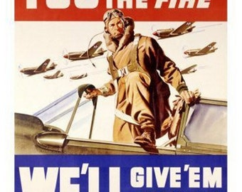 "WWII Fund raiser, Buy Bonds poster.  You give us the Firepower, we'll keep em firing.  US Army, 8x10"" premium poster paper art print"