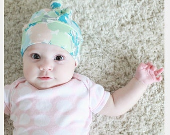 Floral Baby Beanie, Baby Top Knot Beanie