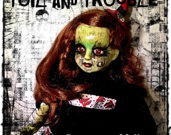 Toil and Trouble- Goth Creepy Horror Punk Art Doll Witch Wicca Macabre with Cauldron