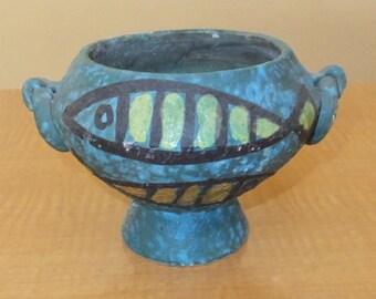 1 W Sale - Mid Century Modern Fish Planter Vintage Pottery Italian