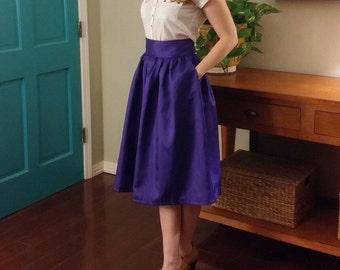 Shantung Midi Skirt- Deep Royal Purple High Waist Midi Skirt