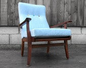 Mid Century Arm Chair Modernist 1950s 1960s Danish Style New Upholstery