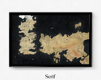 Game of thrones poster, Westeros, Map of Westeros, movie poster, art print
